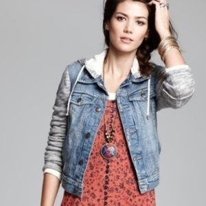 Free People hooded distressed denim jacket